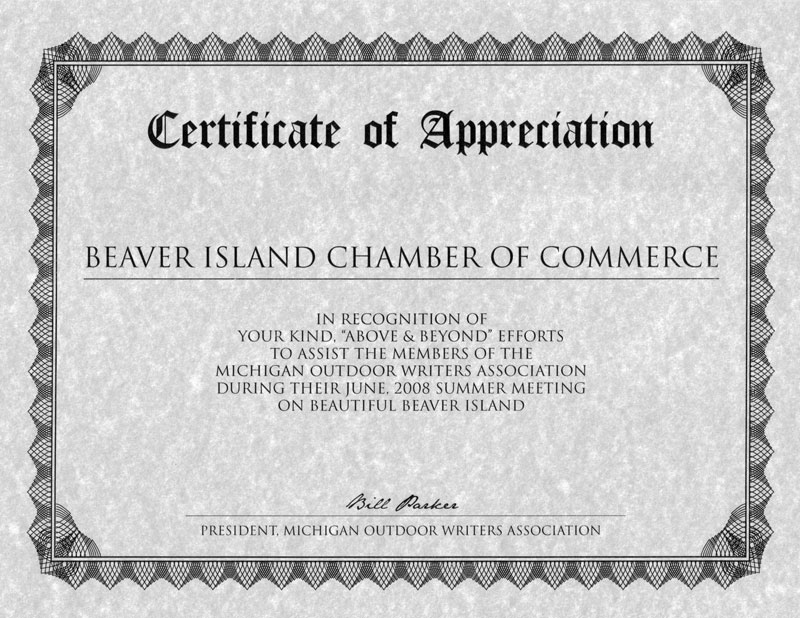 Untitled document the michigan outdoor writers association mowa have recognized with a certificate of appreciation the chamber of commerce laurain lodge beaver island yadclub